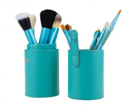 Sada 12 štetcov na make-up a stojan Makeup Lover Turquoise