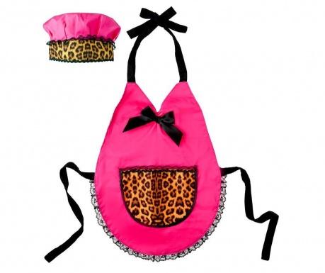 Set otroški predpasnik in kuharska kapa Animal Print Pink