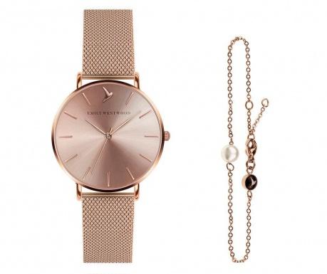 Set ženski ručni sat i narukvica Emily Westwood Sarah Glam Smooth Rose