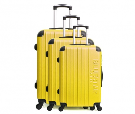 Bucharest Yellow 3 db Gurulós bőrönd