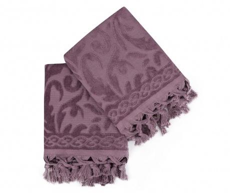Sada 2 ručníků Fringe Purple 50x90 cm