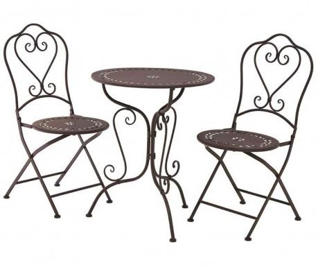 Sada venkovní stůl a 2 skládací židle Finchwood Brown