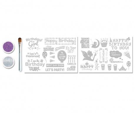 Set 5 tatujev z bleščicami Birthday Girl