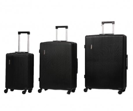 Zestaw 3 walizek na kółkach Mayfair Black