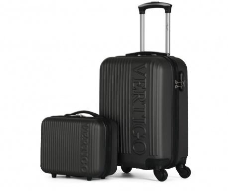 Zurich Dark Grey Gurulós bőrönd és kozmetikai táska
