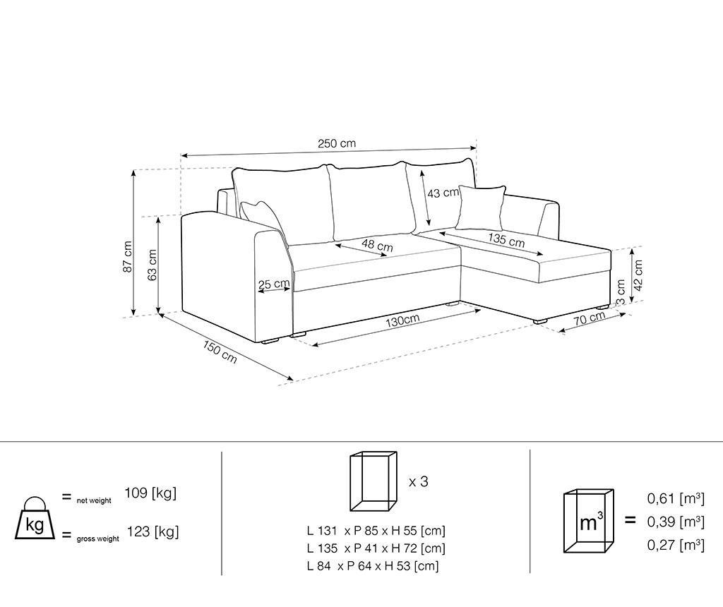 Reverzibilna in raztegljiva kotna sedežna garnitura Dover Dark Grey