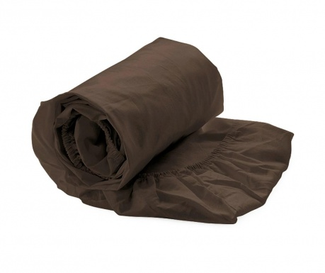 Cearsaf de pat cu elastic Percale Burnt Brown 80x200 cm
