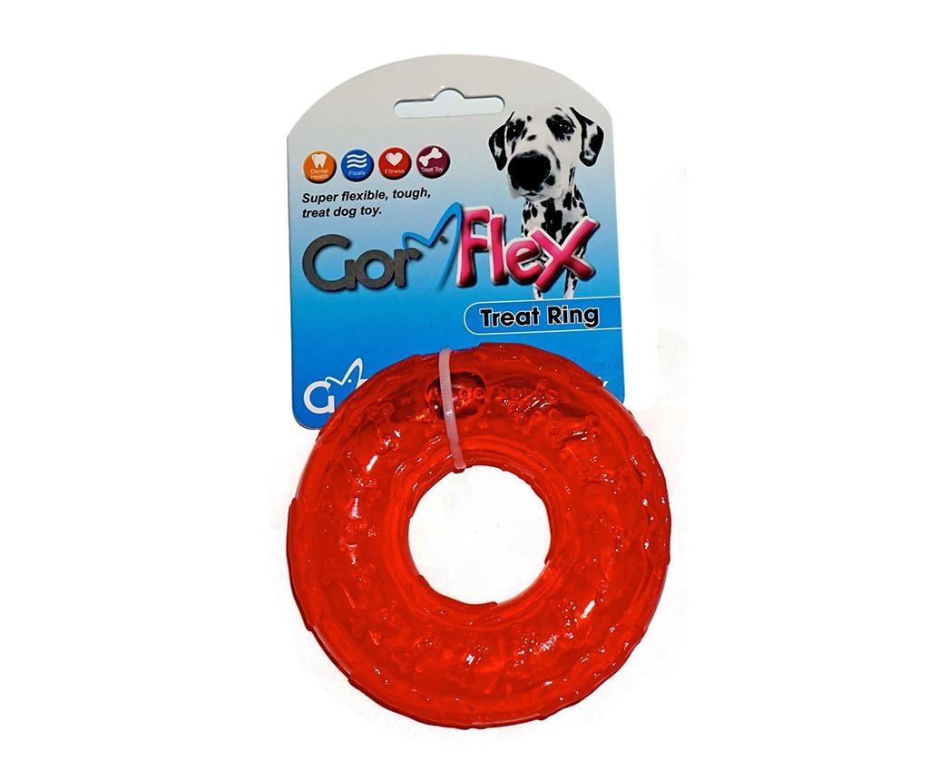 Jucarie pentru caini Flex Treat Ring Red