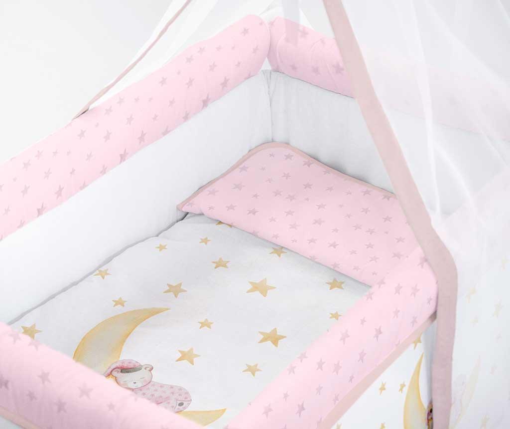 Set krevetić sa baldahinom i dodacima Marlon Night Pink