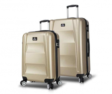 Set 2 kovčkov na kolesih USB Hugh Gold