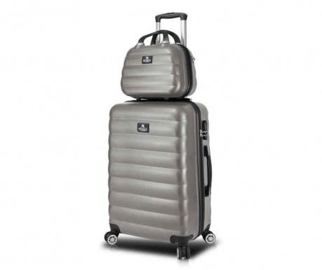 USB Lara Wide Anthracite Gurulós bőrönd és kozmetikai táska f67142f5d5