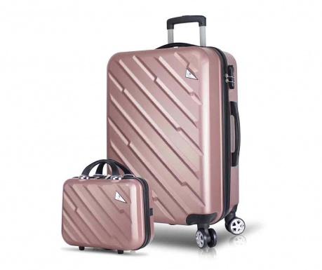 Set - kovček na kolesih in toaletna torba Alice Wide Rose Gold
