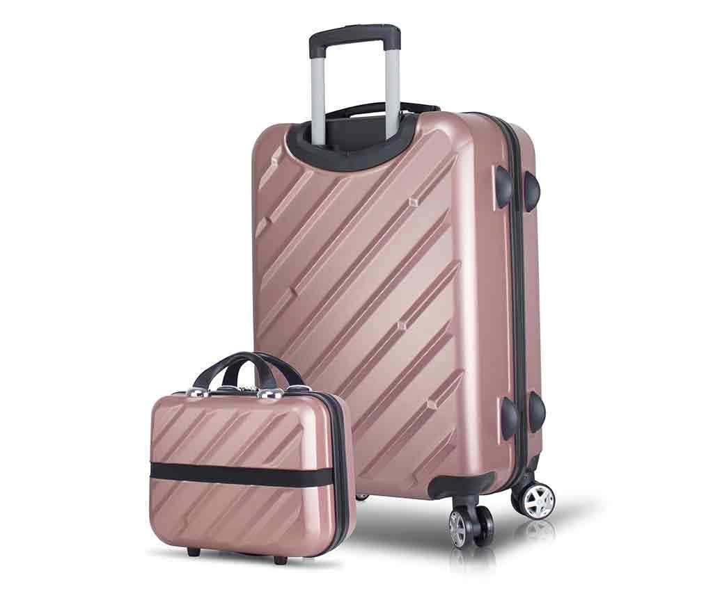 Alice Wide Rose Gold Gurulós bőrönd és kozmetikai táska