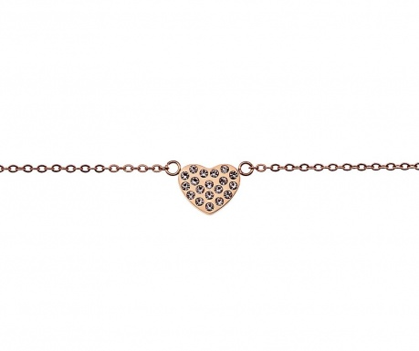 Narukvica Inlaid Heart Rose Gold
