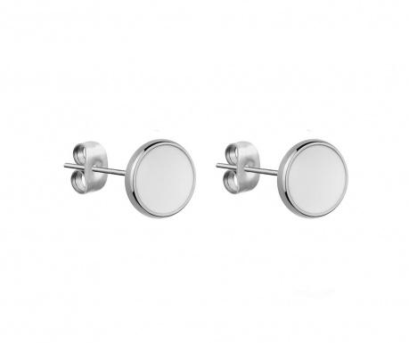 Σκουλαρίκια Round White Silver