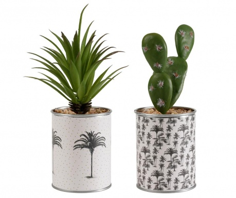 Set 2 umjetne biljke u posudi Tropical Vintage