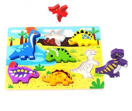 Joc tip puzzle 7 piese Chunky Puzzle  Dinosaur
