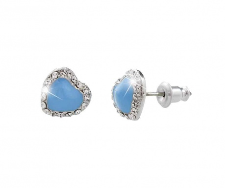 Cercei Laura Bruni Crystal Heart Swarovski Blue