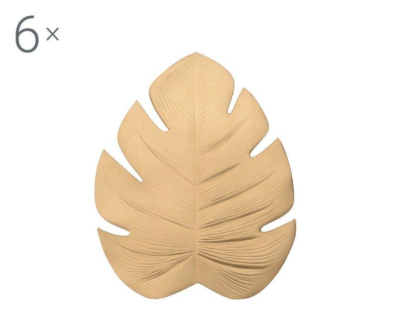Set 6 podmetača Leaf Golden