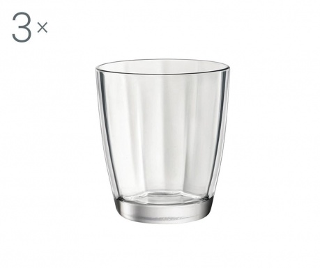 Set 3 čaše za vodu Pulsar Transparent 300 ml