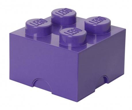 Škatla s pokrovom Lego Square Four Lilac
