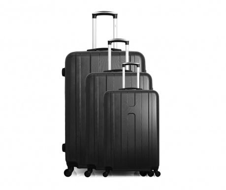 Atlanta Black 3 db Gurulós bőrönd