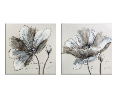Sada 2 obrazov Flowers 50x50 cm