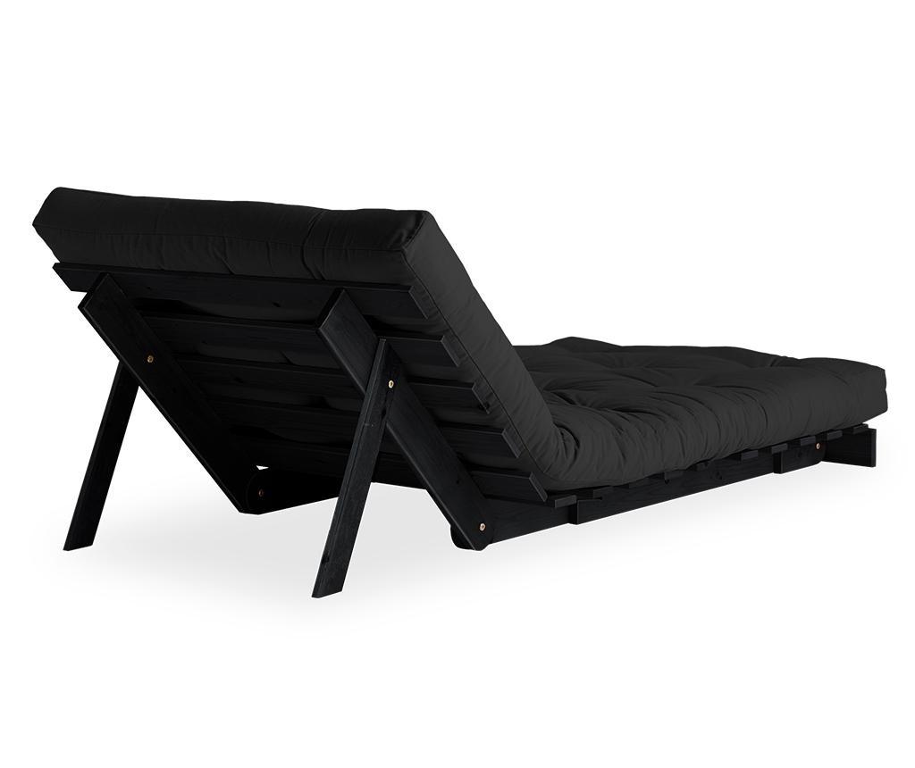 Fotelja na razvlačenje Roots Black & Dark Grey 90x200 cm