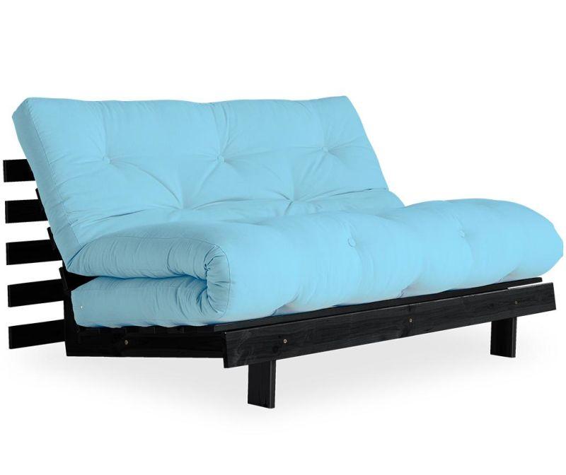 Sofa extensibila Roots Black & Light Blue 140x200 cm