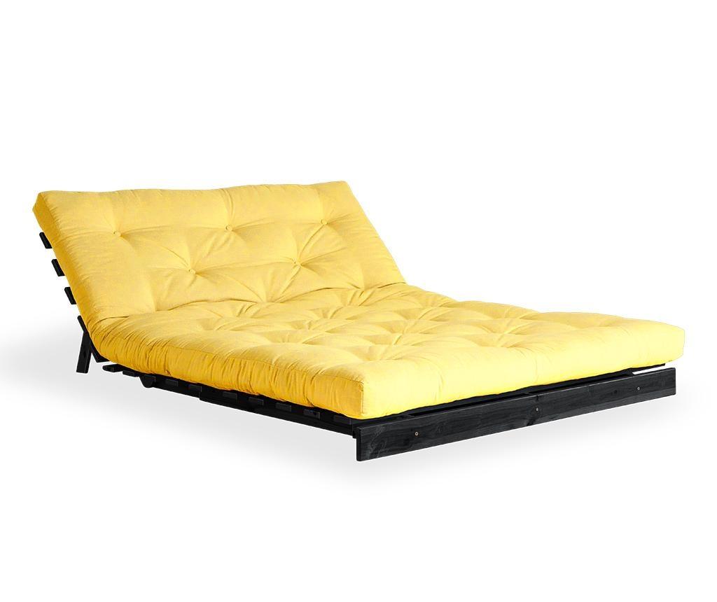 Sofa extensibila Roots Black & Yellow 140x200 cm