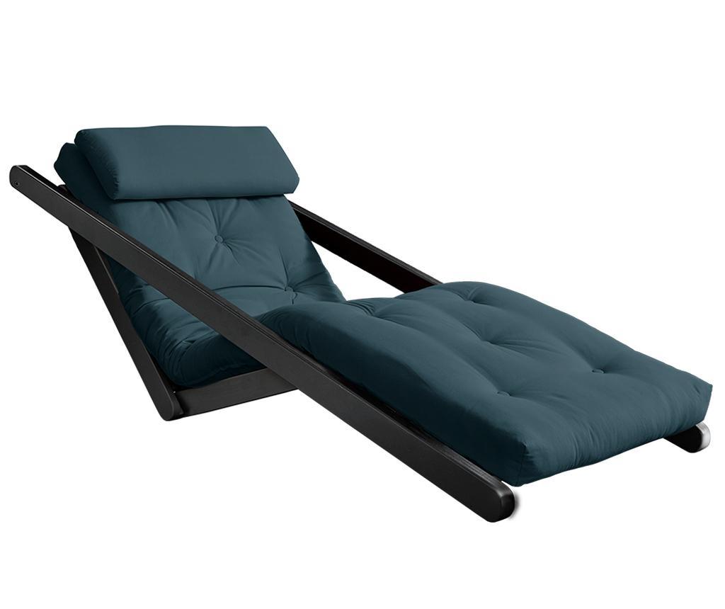 Figo Black & Petrol Blue Kihúzható nappali heverő 70x200 cm