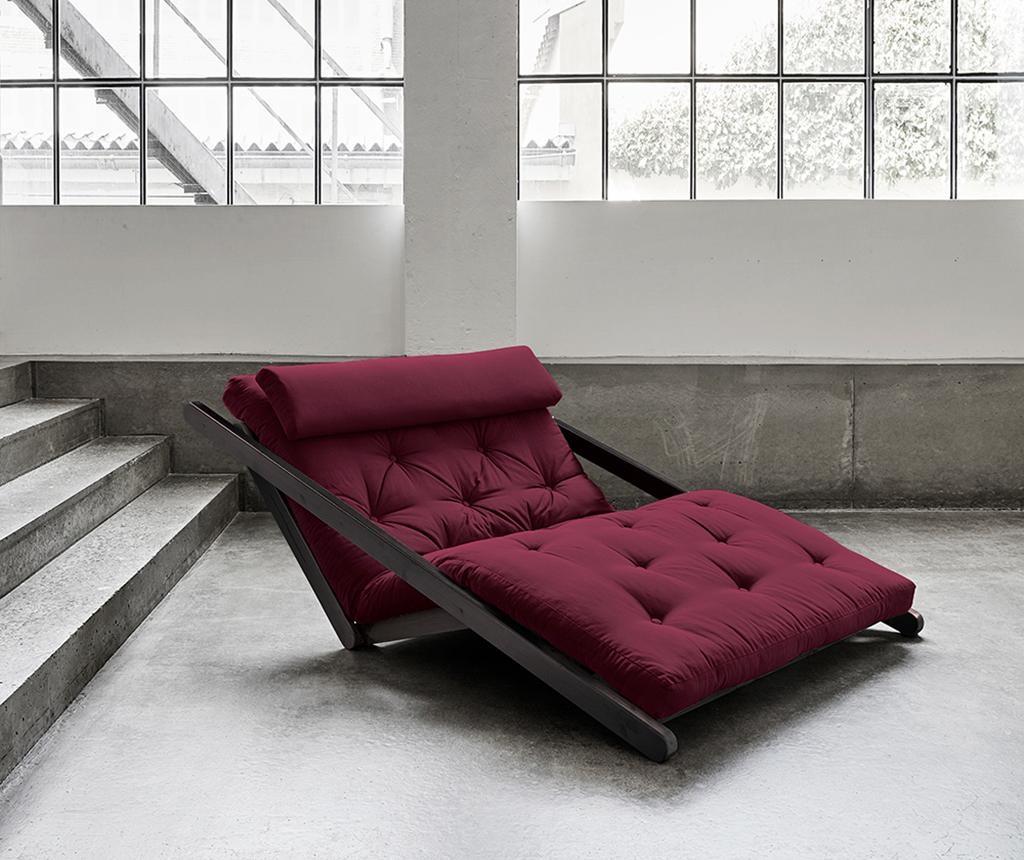 Raztegljiv počivalnik za dnevno sobo Figo Black & Bordeaux 120x200 cm