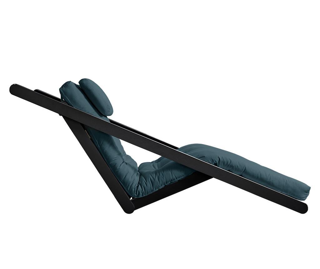 Raztegljiv počivalnik za dnevno sobo Figo Black & Petrol Blue 120x200 cm