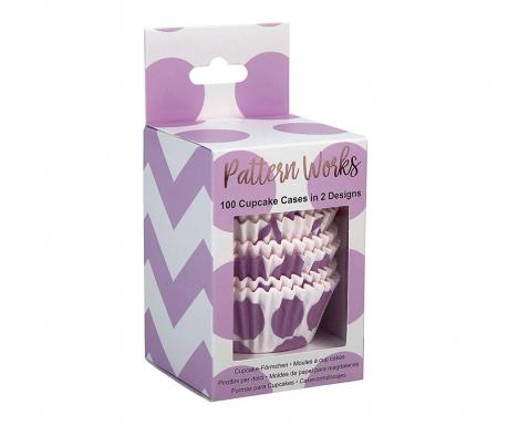 Set 100 košaric za mafine Pattern Works Lilac