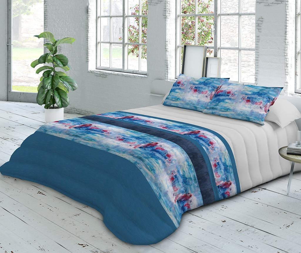 Set cuvertura matlasata king Extra Satin Ocean Blue