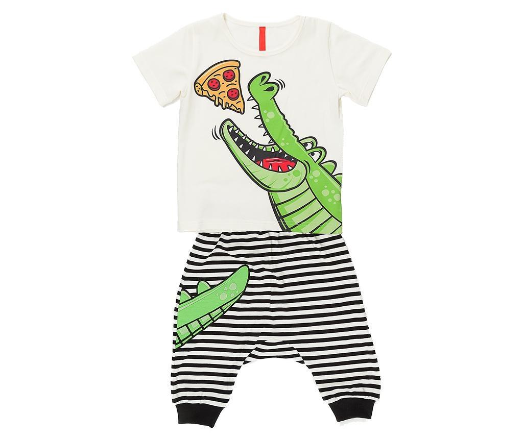 Otroški komplet - majica s kratkimi rokavi in tričetrt hlače Pizza Boy Baggy 7 years
