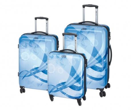 Elkelt Atlantis Blue 3 db Gurulós bőrönd 02e04b58b7