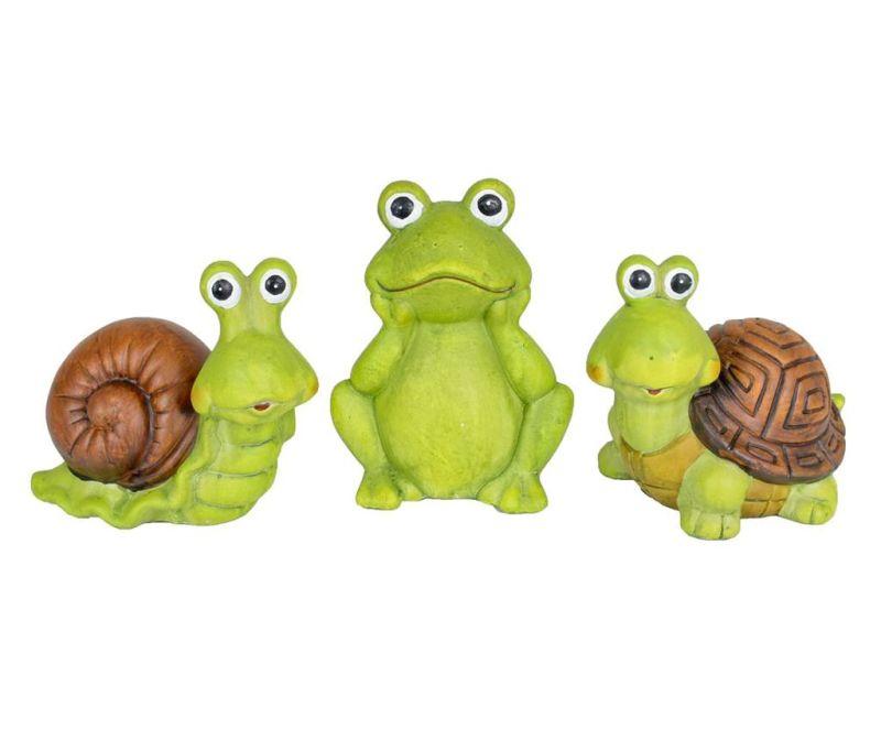 Set 3 vrtnih dekoracij Turtle Frog Slug