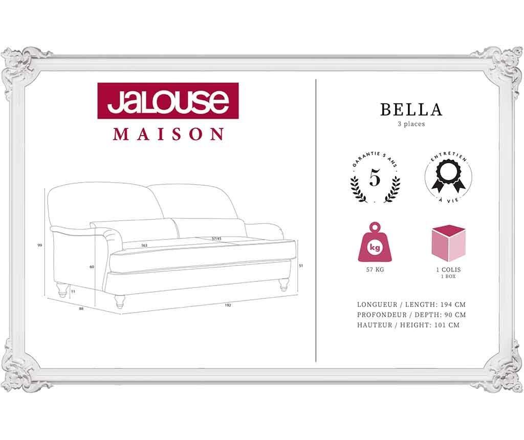Bella Anthracite Háromszemélyes kanapé