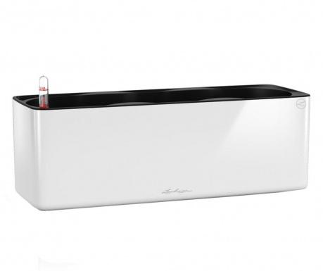 Set - cvetlično korito z avto-namakalnim sistemom in držalom Cube Glossy White