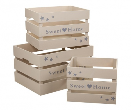 Set 3 sanduka za spremanje Sweet Home Grey