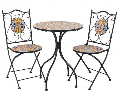 Комплект маса и 2 стола за екстериор Mosaic Multi Flowers