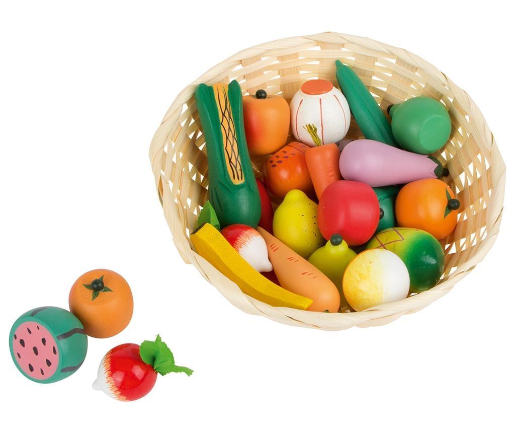Set cos cu legume si fructe de jucarie Market Time