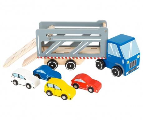 Set 5 masini de jucarie si remorca Transporter Premium