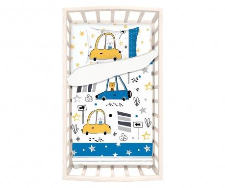 Lenjerie de patut Ranforce Car Teddy Light Blue