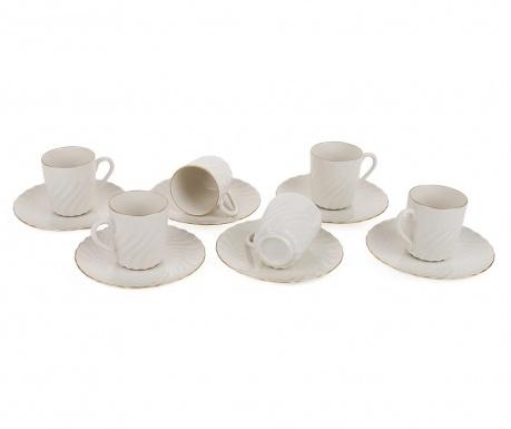 Set 6 cesti si 6 farfurioare Espresso Swirls