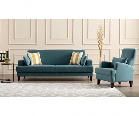Set canapea extensibila 3 locuri si fotoliu Kana Turquoise