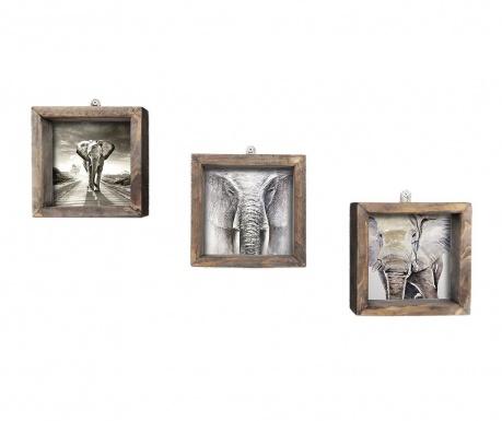 Set 3 tablouri Grey 15x15 cm