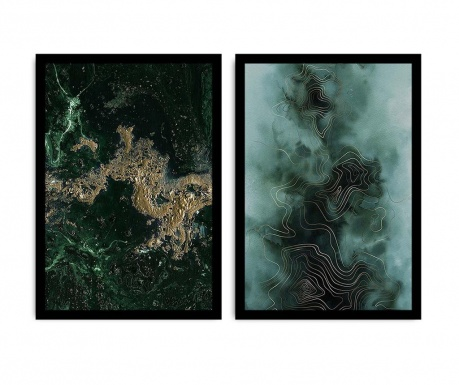 Set 2 tablouri Green Marble 36x51 cm