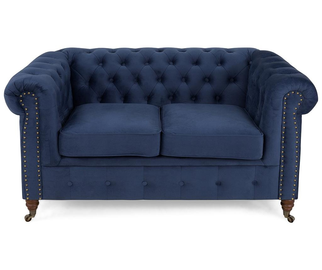 Kauč dvosjed Chesterfield Petrol Blue